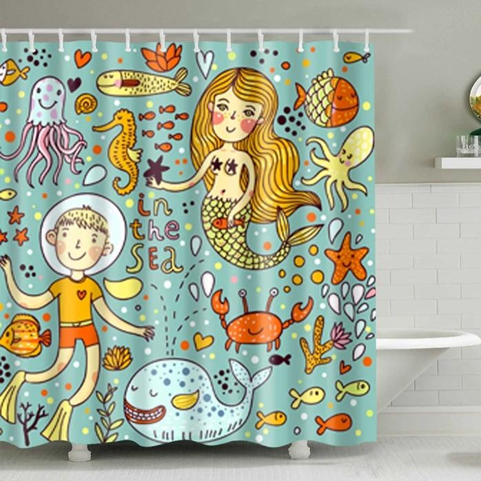 Kids Cartoon Mermaid Sealife Print Shower Curtain