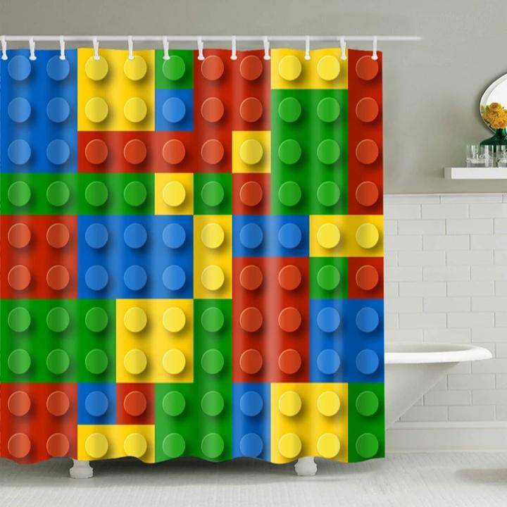 Colorful Kids Lego Print Bathroom Shower Curtain
