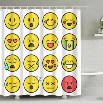 Kids Cartoon Emoji Print Bathroom Shower Curtain