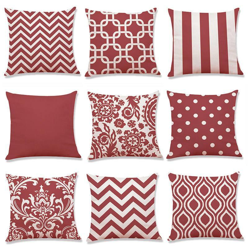 "18"" Red Geometric Pattern Throw Pillow Cover"
