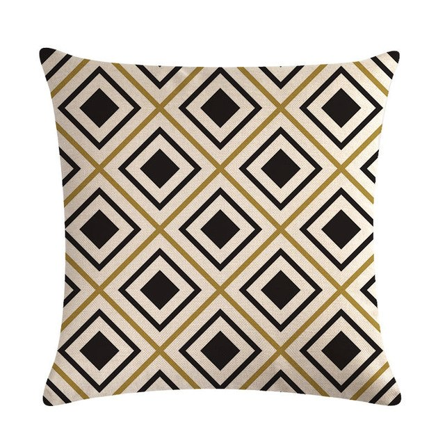 "18"" Black / Gold Geometric Line Pattern Throw Pillow Cover"