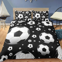 Black 2/3-Piece Flying Soccer Ball Duvet Cover Set