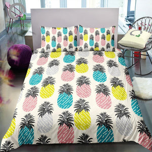 Multi-Color 2/3-Piece Abstract Pineapple Pattern Duvet Set