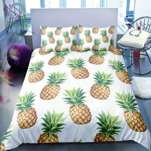 White 2/3-Piece Pineapple Pattern Duvet Cover Set
