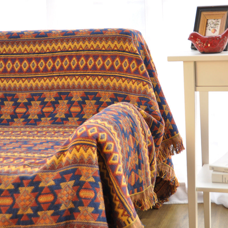 Orange Knitted Aztec / Native Tapestry Sofa Throw Cover
