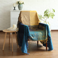 Blue / Gold Knitted Bohemian Plaid Tapestry Sofa Throw Cover