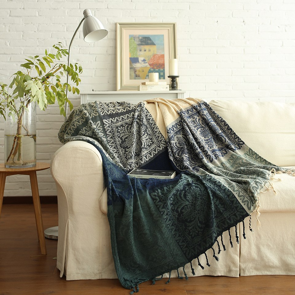 Blue / Green Knitted Bohemian Panel Tapestry Sofa Throw Cover