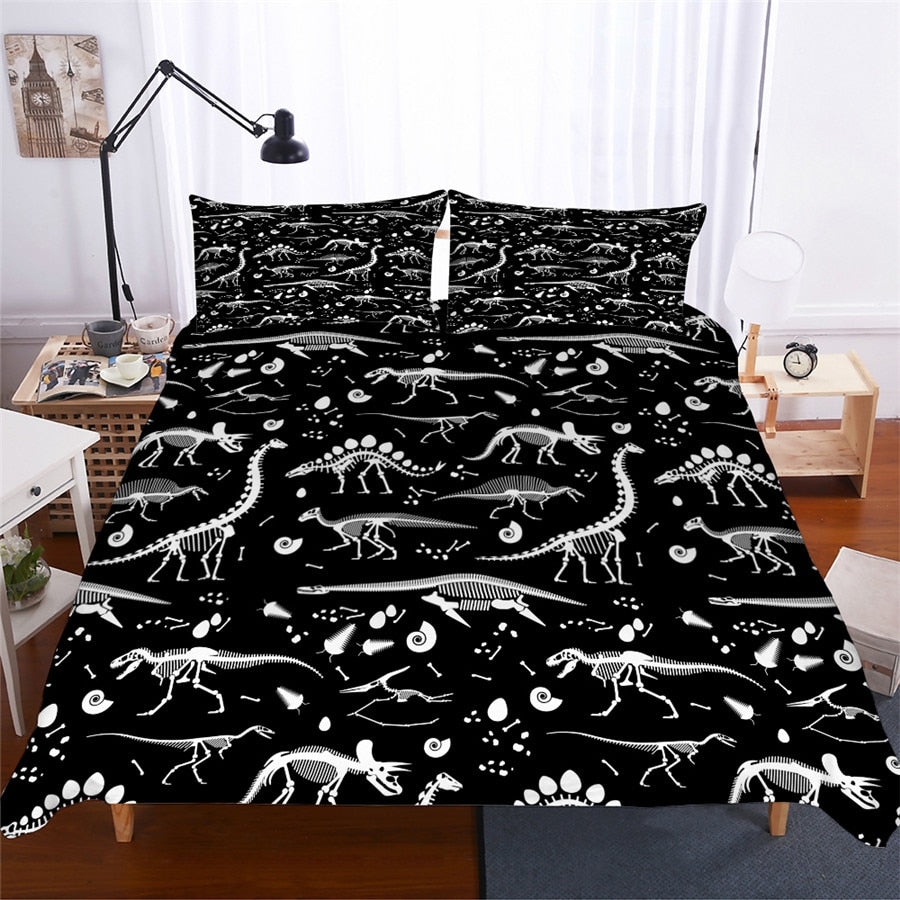 Black 2/3-Piece Kids Dinosaur Fossil Duvet Cover Set