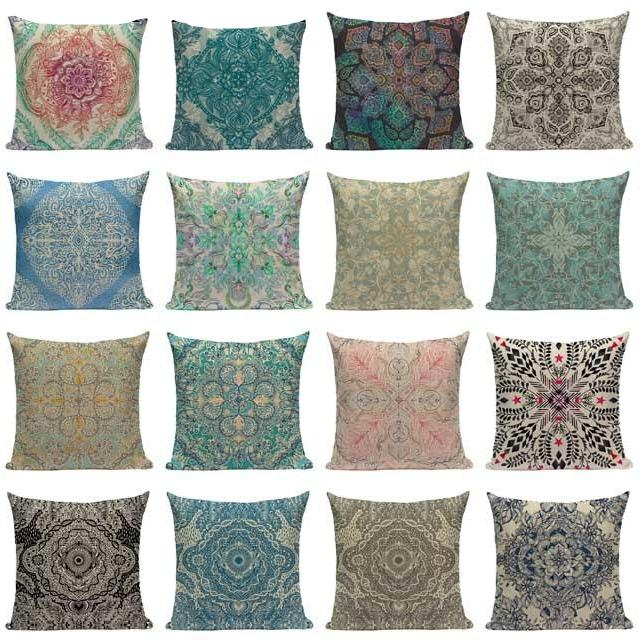 "18"" Vintage Indian Floral Pattern Throw Pillow Cover"