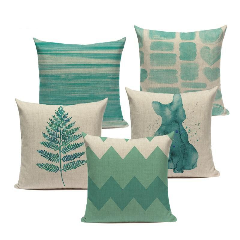"18"" Teal Green Watercolor Painting Throw Pillow Cover"