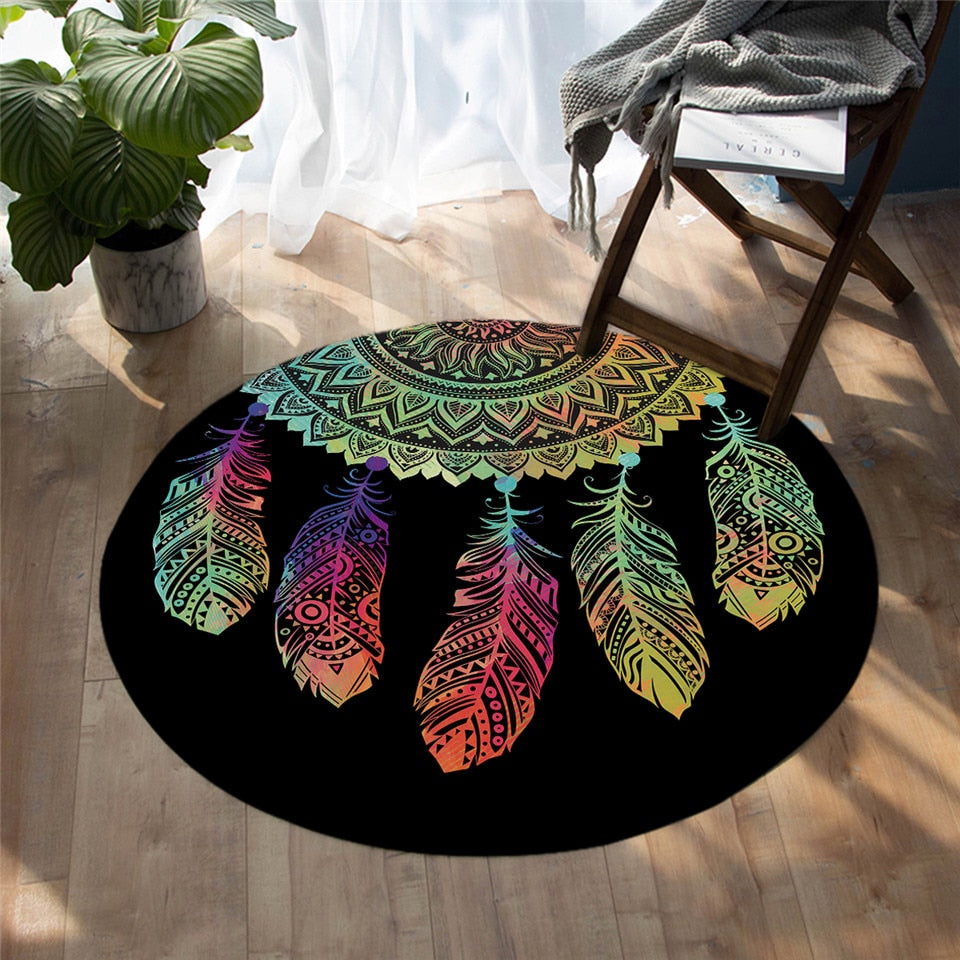 Round Black Rainbow Dreamcatcher Floor Mat Rug