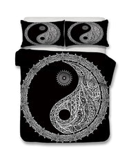 2/3-Piece Black & White Bohemian Yin-Yang Duvet Set