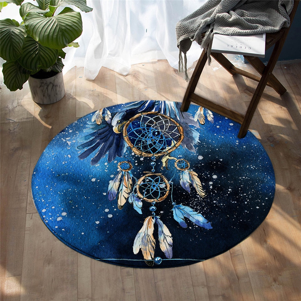 Round Blue Galaxy Dreamcatcher Floor Mat Rug