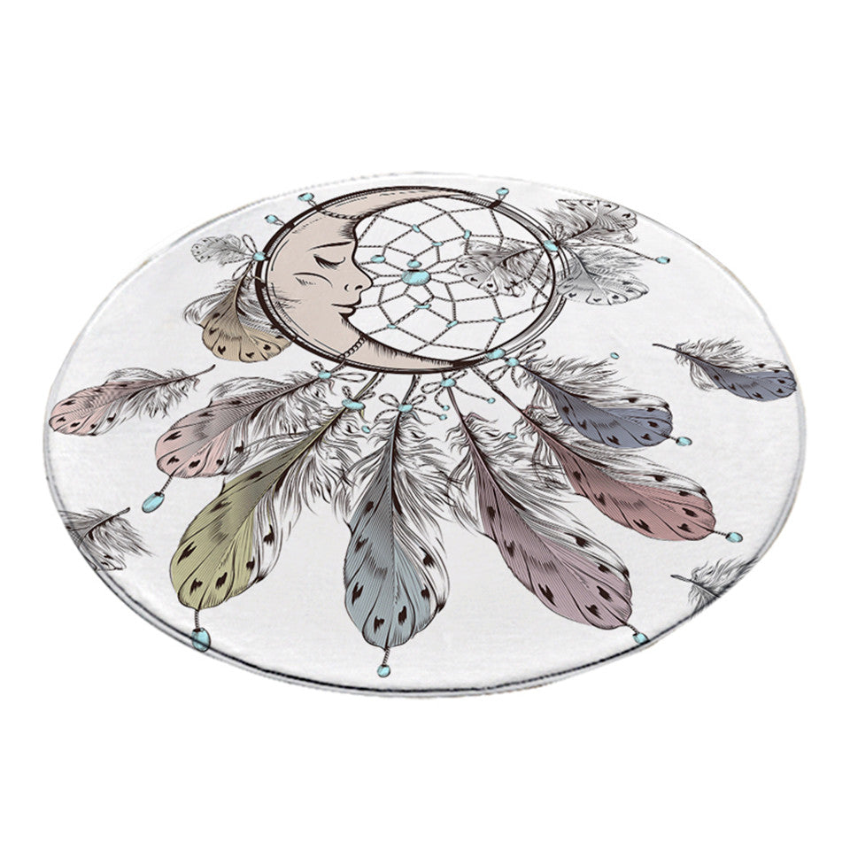 Round Moon Dreamcatcher Print Floor Mat Rug