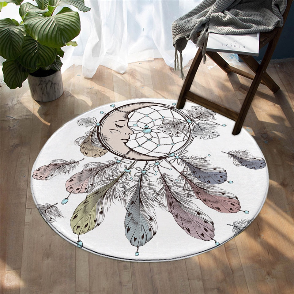 Round White Moon Dreamcatcher Print Floor Mat Rug