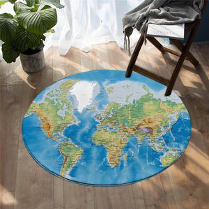 Round Blue Classic World Map Print Floor Mat Rug