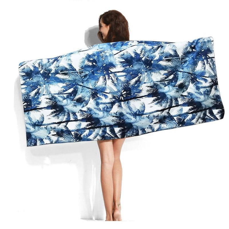 XL Quick-Dry Blue Palm Tree Pattern Beach Towel