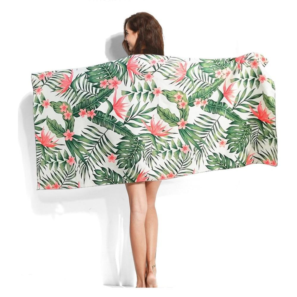 Large Quick-Dry Pink Floral Palm Print Beach Towel