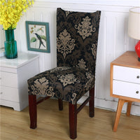 Black / Gold Floral Damask Pattern Dining Chair Cover