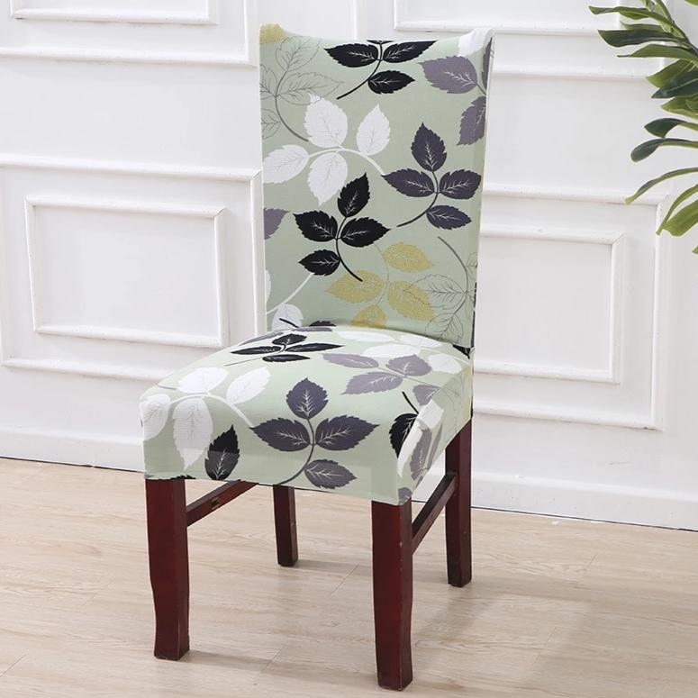 Mint Green Floral Leaf Pattern Dining Chair Cover