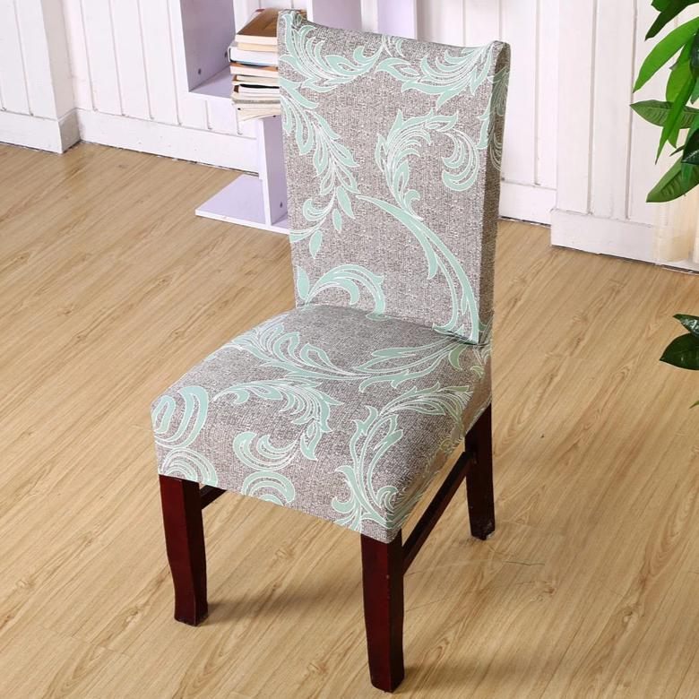 Light Green Floral Damask Pattern Dining Chair Cover