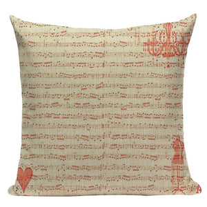 "18"" Guitar / Piano Lovers Music Note Throw Pillow Cover"