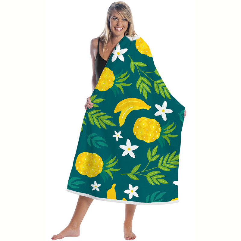 Quick-Dry Banana Pattern Microfiber Beach Towel