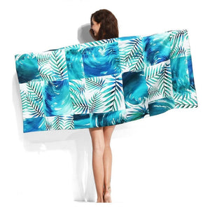 Large Quick-Dry Blue Wave Palm Pattern Beach Towel