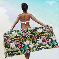 Large Quick-Dry Black Tropical Flower Beach Towel