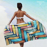 XL Quick-Dry Retro Surfboard Pattern Beach Towel