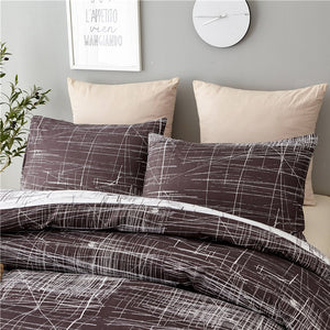 Black 3-Piece Abstract Hand Scratch Duvet Cover Set