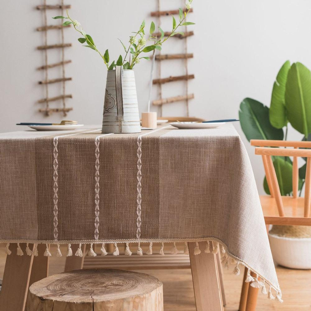 Beige Ribbed Cotton Linen Tablecloth w/ Tassels