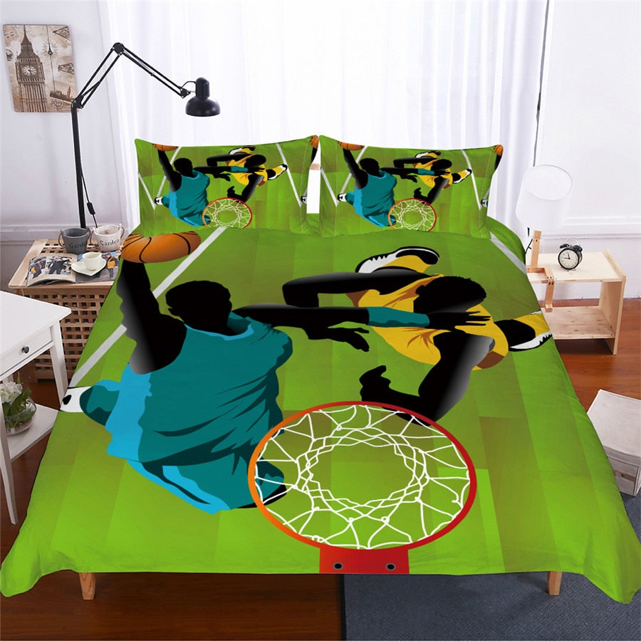 Green 2/3-Piece Abstract Basketball Print Duvet Cover Set