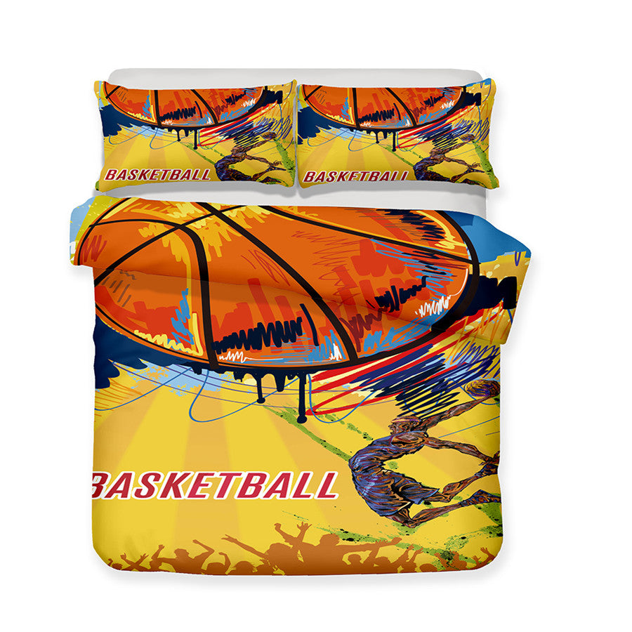 Yellow 2/3-Piece Graffiti Basketball Print Duvet Cover Set