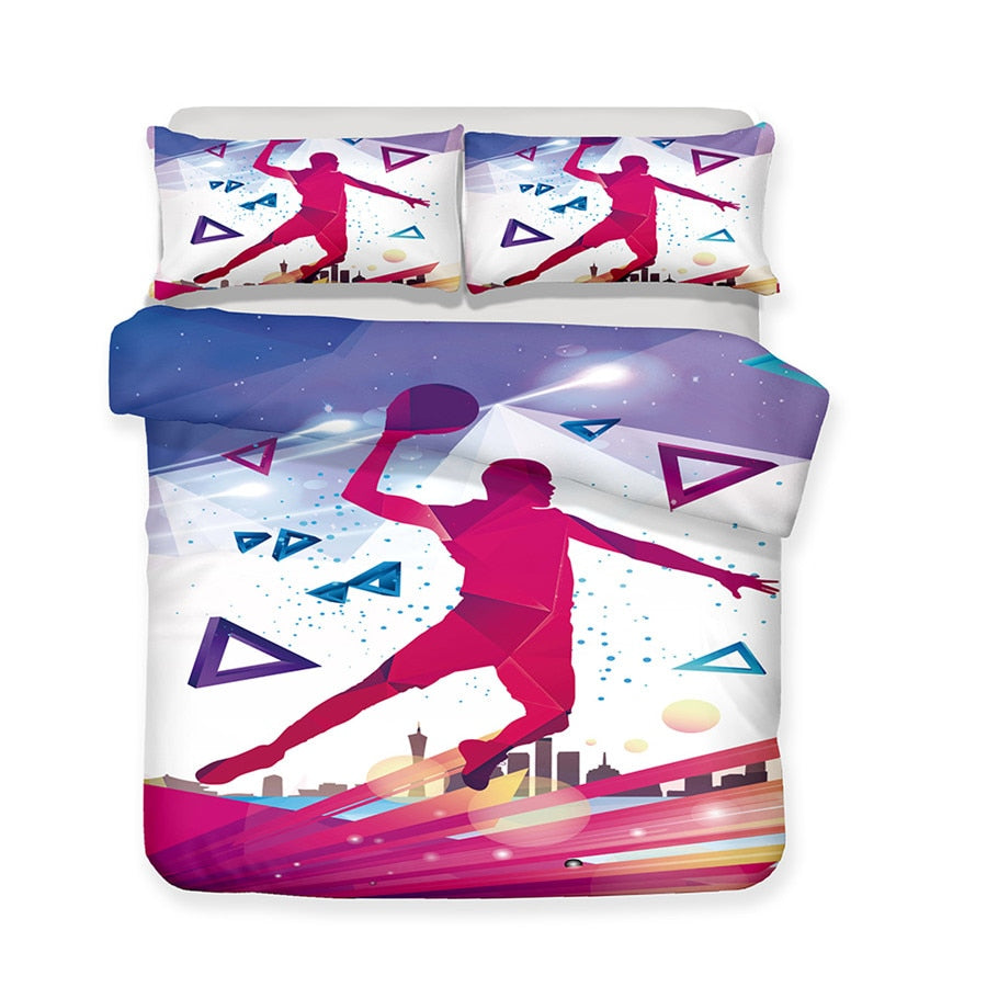 2/3-Piece Retro Basketball Jam Duvet Cover Bedding Set