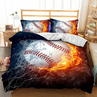 2/3-Piece Flaming Baseball Duvet Cover Bedding Set