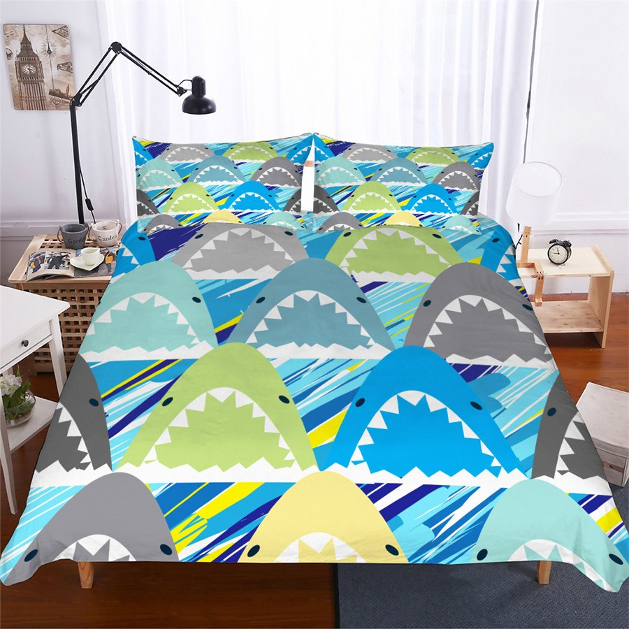 Blue-Green 2/3-Piece Shark Pattern Duvet Cover Set