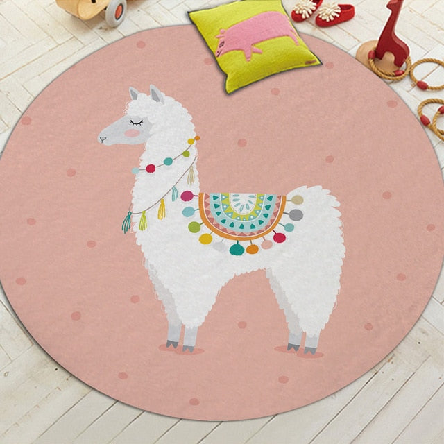 Round Cartoon Alpaca Print Floor Mat Rug