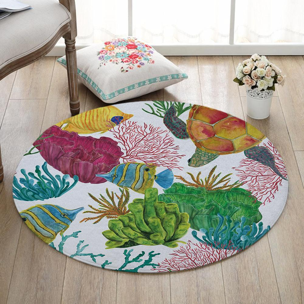 Round Nautical Ocean Life Print Floor Mat Rug