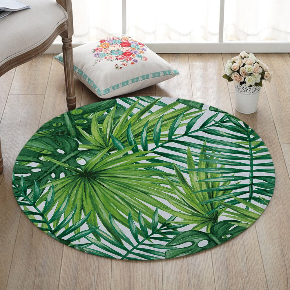 Round Tropical Palm Leaf Print Floor Mat Rug