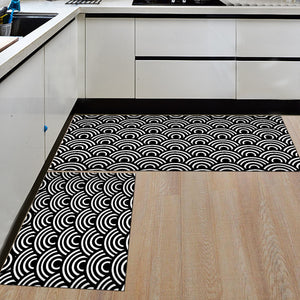 Black & White Geometric Pattern Door Mat / Floor Runner