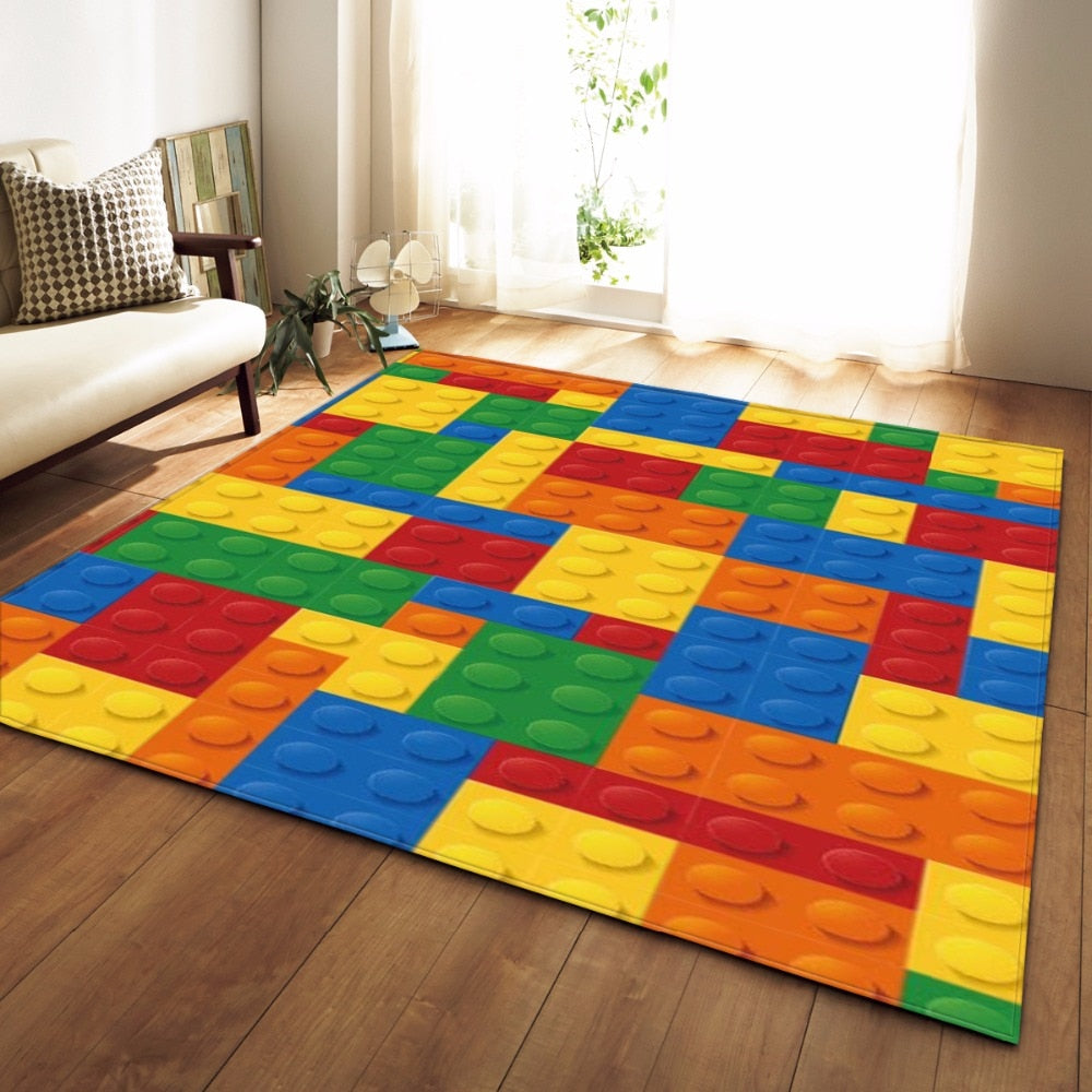Colorful Kids Lego Print Area Rug Floor Mat
