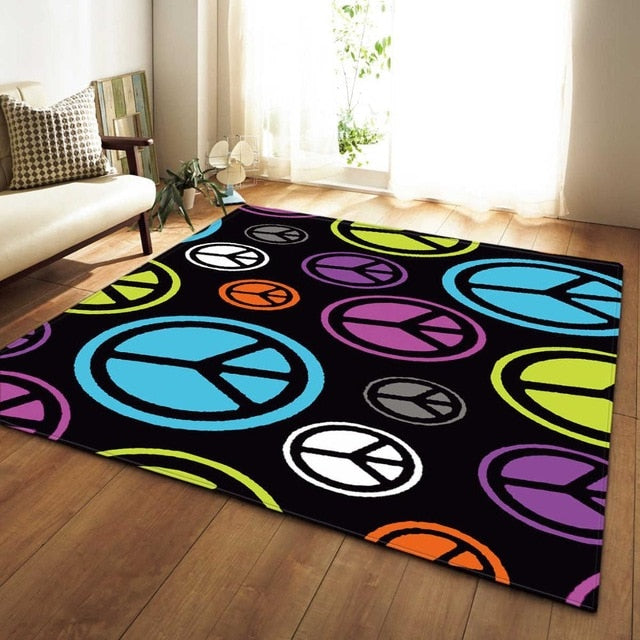 Black Multi-Color Peace Sign Area Rug Floor Mat