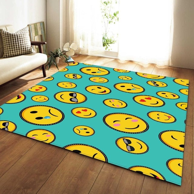 Cartoon Emoji Face Print Area Rug Floor Mat