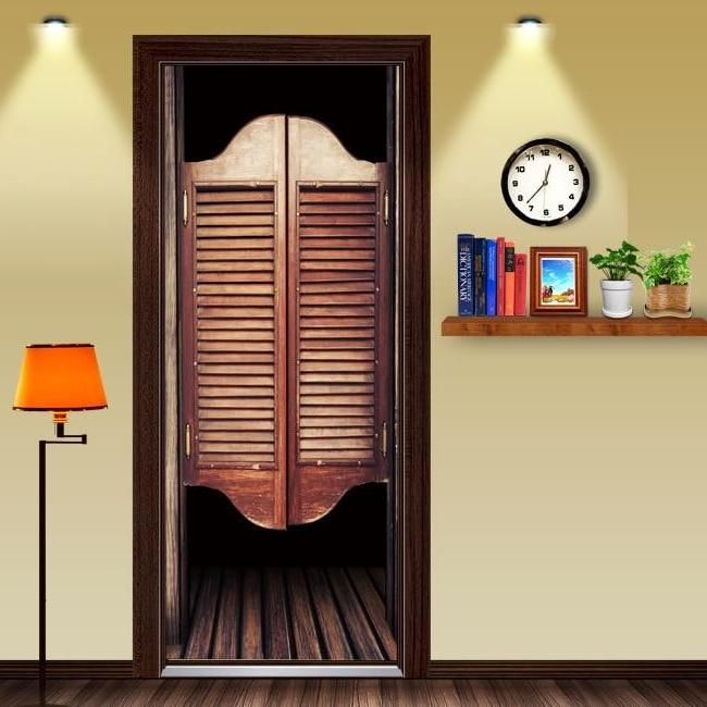 Wood Saloon Doors 3D Door Decal Sticker