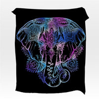 Black Bohemian Elephant Fleece Throw Blanket