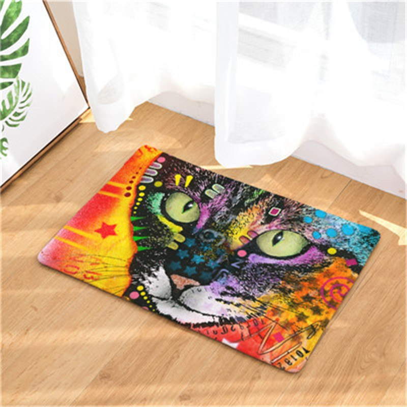 Colorful Graffiti Cat Print Door / Floor Mat Rug