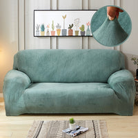 Solid-Color Plush Velvet Elastic Sofa Couch Cover
