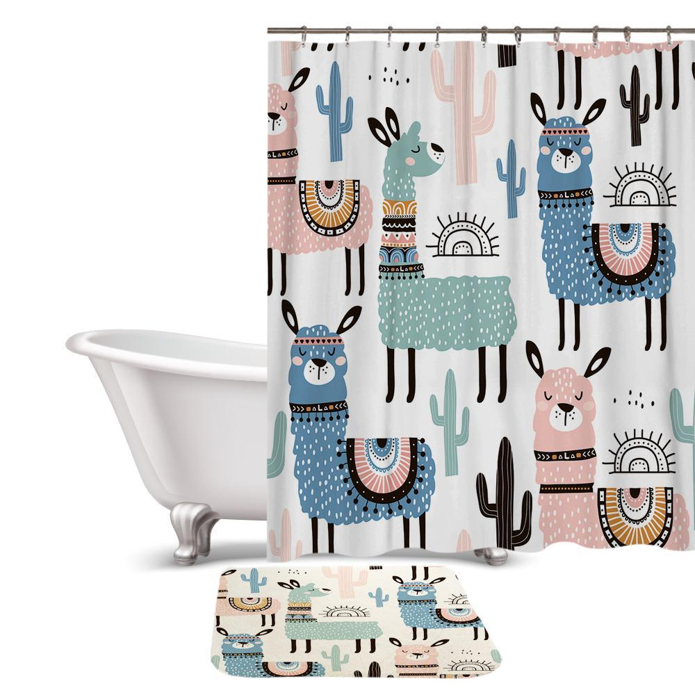 Cartoon Alpaca Llama Print Shower Curtain / Bath Mat