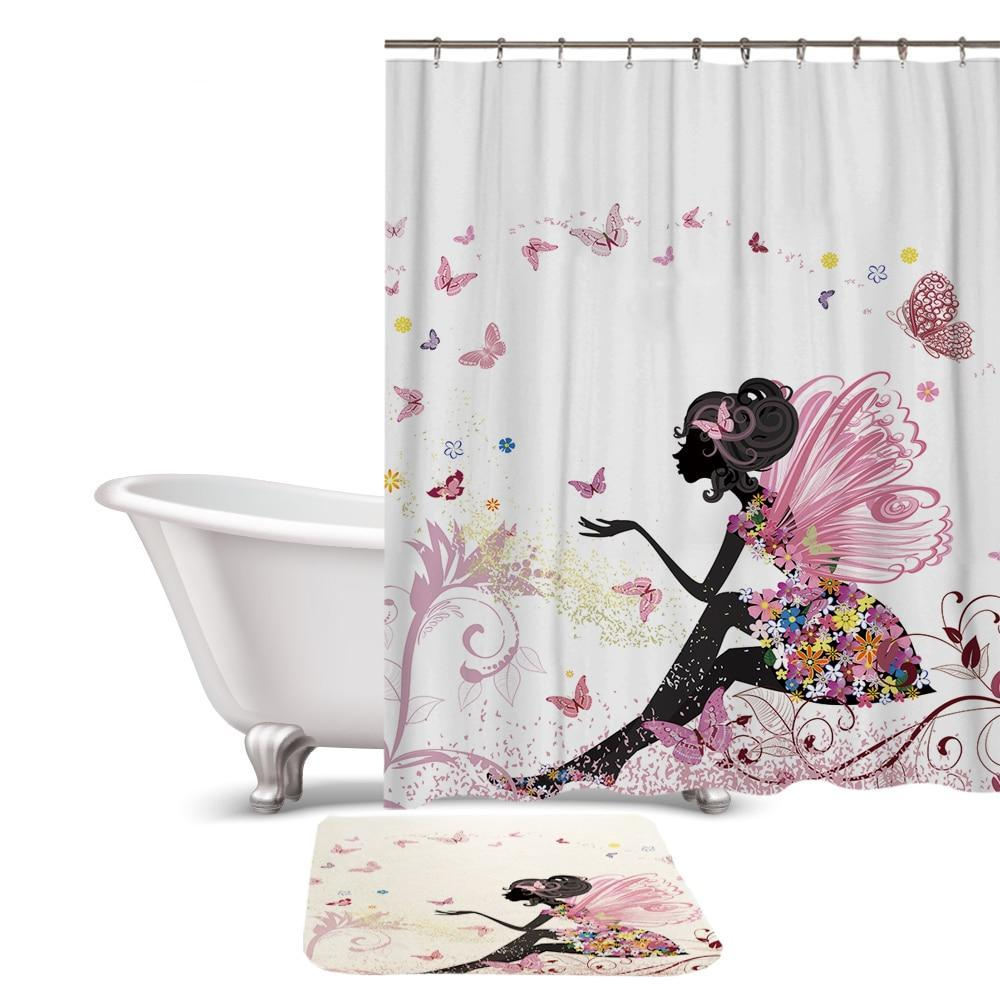 Magical Butterfly Fairy Shower Curtain / Bath Mat